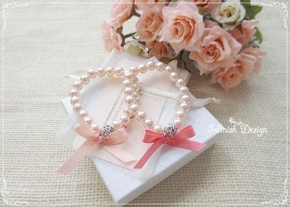 Flower Girl Gift Baskets : Flower girl gifts bracelet peach coral