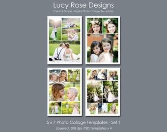 5 x 7 Photo Collage Templates - Set 1