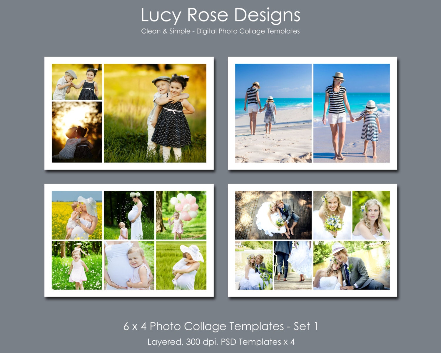 6 x 4 photo collage templates set 1 for 4 picture collage template