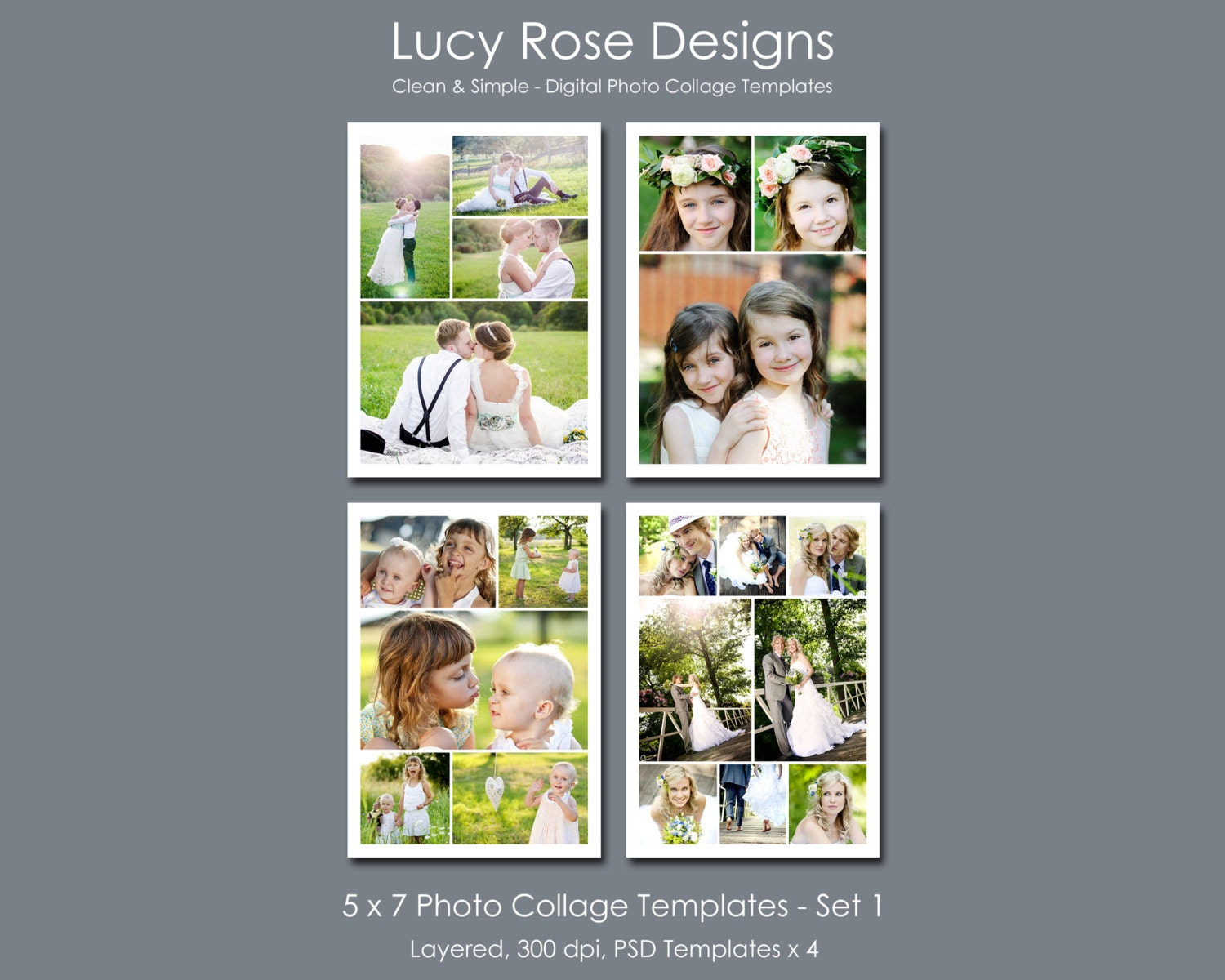 5 x 7 photo collage templates set 1 for 4 picture collage template