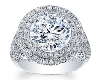 Ladies Platinum double halo engagement ring with 1.50 ctw G VS2 diamonds and 3ct Round Brilliant White Sapphire Center