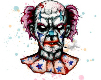 Smoking Clown Fine Art Print
