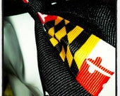 Maryland Pride: Black Base with Maryland Flag Center Stripe Hair Bow