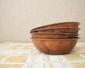 Set of 4 parquet weave wood bowls / Vintage cereal bowls