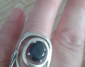 Huge Vintage Silver Ring with Iolite (?)
