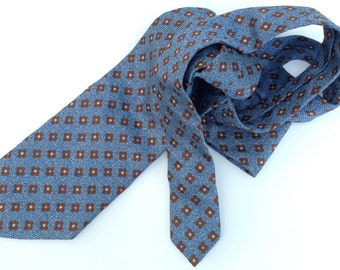 Vintage Ermenegildo Zegna Silk Tie 1990s/ Mens Christmas Gift/Wolf of Wall Street Era/Blue/Chocolate
