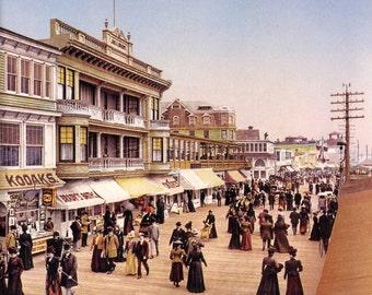 Atlantic City Boardwalk in 1899 - Vintage Photo Art Print, Ready to Frame!