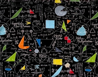 Math fabric - blackboard filled with mathematical equations Algebra Geometry Calculus Trigonometry - Timeless Treasures - by the YARD