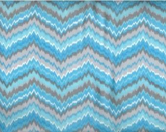 FREE SHIPPING - Jagged Chevron flannel fabric - aqua gray white zig zags - by the YARD