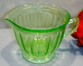 Colonial Fluted Rope by Federal Green Depression Glass Creamer