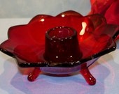 Fenton Ruby Red Amberina Depression Glass Candleholder