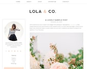 "Blogger Template Premade Blog Theme Design - ""Lola & Co"" Instant Digital Download, Pink and Black"