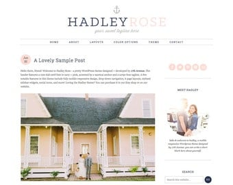 "Wordpress Theme Premade Blog Template Design - ""Hadley Rose"" Instant Digital Download"