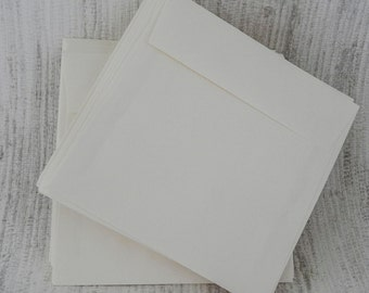 20 Square Envelopes,  5 1/2 x 5 1/2 inch, 5.5x5.5, Finch Opaque Text Vanilla Vellum, 70lb Text Weight, Ivory Greeting Card Envelope, 1022