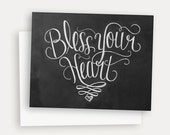 Bless Your Heart Card - Southern Card - Any Occassion Card - Hand Lettered Card - Chalkboard Card - Chalk Art