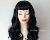 Bettie Page hairstyle inspired wig. U bangs wig. Pin up hairstyle wig. Retro. Black hair wig.