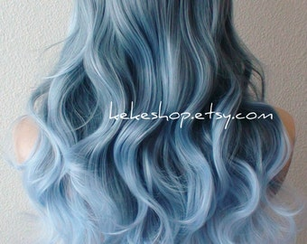 Blue Ombre wig. Pastel silver blue ombre wig.  Long curly hair long side bangs ombre colored wig.