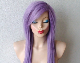 Lavender wig. Emo wig. Scene wig. Pastel light purple Long straight hairstyle wig. Durable heat friendly wig for daily use or Cosplay