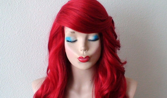 Red wig. Long curly Red hair wig. Durable custom wig. Halloween ...