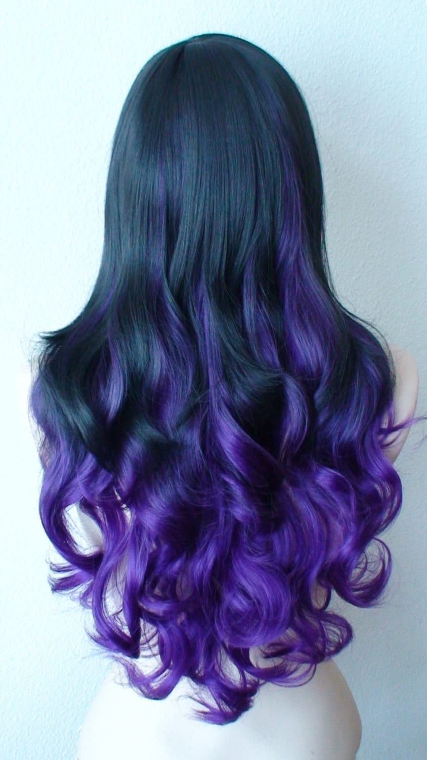 Ombre wig. Lace Front wig. Black / Purple Ombre wig. by ...