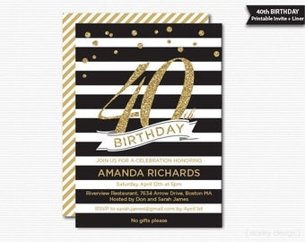 Black and Gold 40th Birthday Invitation Printable Glam Glitter 30th 50th DIY Invite Modern Stripes Digital Milestone Birthday