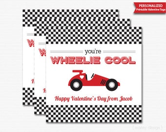 Printable Valentines Day Tags Valentines Tags Car Valentines Tags Race Car Valentines Wheelie Cool Personalized Valentines Day Digital Boys