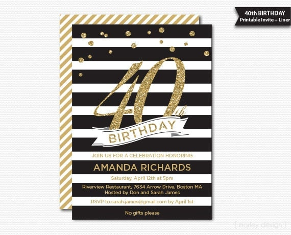 Black and gold 40th birthday invitation printable glam glitter 30th il570xn solutioingenieria Images