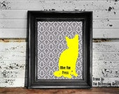 Digital Download, Black and White Damask Pattern with Yellow Kitty Art Print