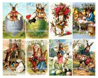 Easter Digital Download Collage 8 Vintage Bunny Easter Holiday Download