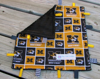 Mizzou Tigers, Lovie, Sensory Toy, Blanket, Baby Shower Gift, Crinkle Ribbon Tags, Sports Nursery Decor, University of Missouri, Minky Lovey