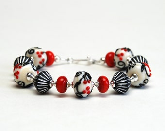 Red Black and White Lampwork Bracelet - Artisan Lampwork Glass and Sterling Silver Bracelet - Handmade Jewelry