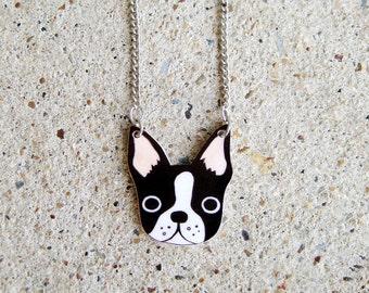 Boston Terrier Shrink Plastic Necklace