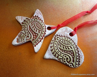 """Paisley """"Angel Wing"""" Heart or Star Clay Ornament in Whitewash and Gold Gilders Paste, Handmade Pottery, hiddenfirepottery"""