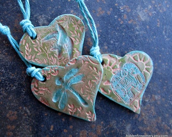 Elephant, Dove or Dragonfly Ornaments,Stamped Pottery,Green Turquoise Gilders Paste, Christmas or Everyday,Handmade,Rustic, Woodland