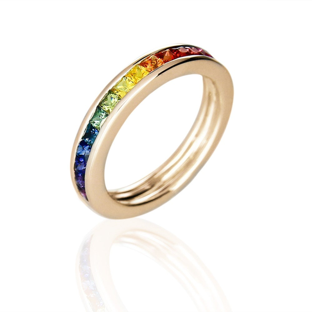 Gay men wedding band gold ring