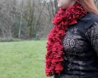 Beautiful Crochet Red Ruffle Christmas Scarf
