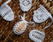 Crochet Easter Egg Cover, Set of 5 Hand Crocheted Easter Eggs Easter Decoration White