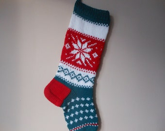 Christmas Stocking Hand Knitted  Christmas Gift Christmas Decoration