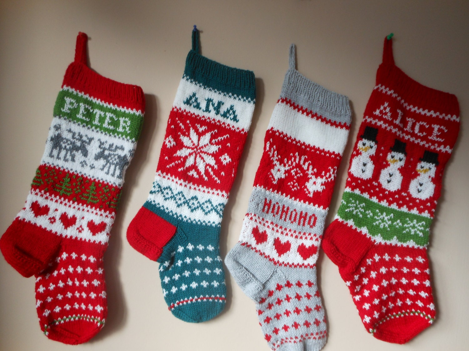 Knitting Pattern For Christmas Stocking Personalized : Personalized Christmas Stocking Hand Knitted Christmas Gift