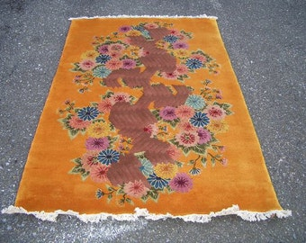 1980s Vintage, Hand-Knotted Art-Deco Style Chinese Rug (3053)