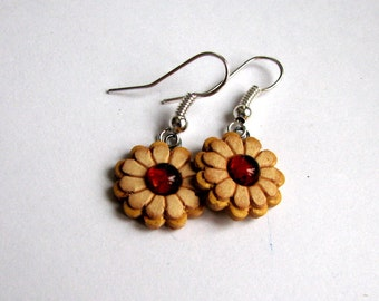 Handmade Birch Bark earrings Сhamomile with amber