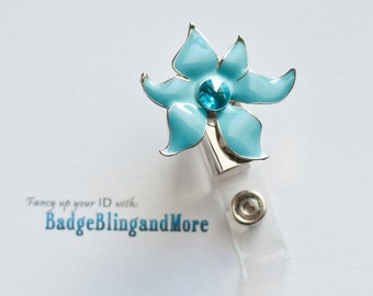 Whimsy Blue Flower-  Nurse/Professionals/Conventions - Badge Holder Lanyard Clip BB2059