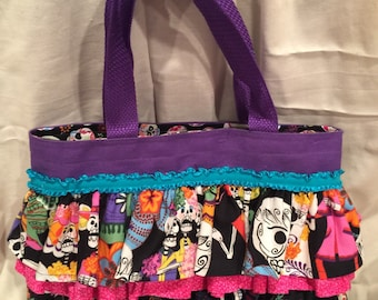 "Day of the Dead...Ruffled Tote Handbag ""Dia de los Muertos"""