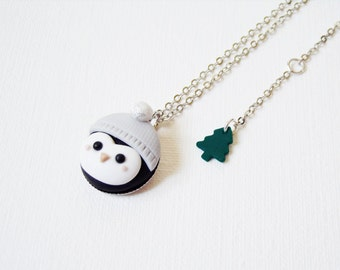 Cute Penguin Necklace - Polymer clay jewelry