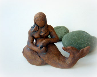 CLEARANCE SALE - Mermaid on Rock . Original Fine Art Ceramic Sculpture . Gift for Her