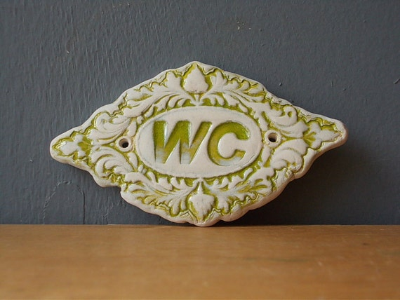 Wc sign home decor door decor bathroom sign vintage - Decor wc ...