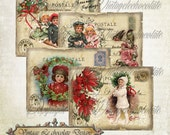 Vintage Digital Christmas Collage, Old World Digital Tags Cards, Shabby Tags, Decoupage, Vintage Holiday Scrapbook Supplies. No. ch.218
