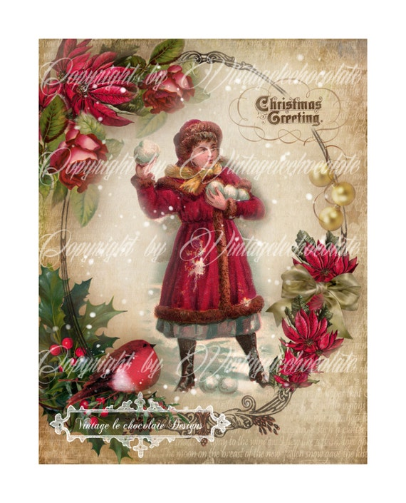 Vintage Digital Collage Christmas