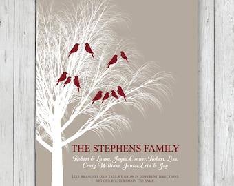 Personalized Family Tree Art Print, Custom Family Art Home Decor // Khaki, White, Burgundy - 8 x 10 or 11 x 14 // Gift Guide