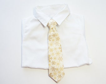 Ivory with Yellow and Gold Snowflakes Neck Tie With Adjustable Strap